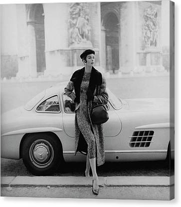 Anne St. Marie By A Mercedes-benz Car Canvas Print by Henry Clarke