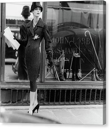 Dior Canvas Print - Anne St. Marie Wearing A Dior Coat by Henry Clarke