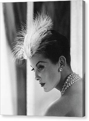 Dior Canvas Print - Anne St. Marie Wearing A Dior Hat by Henry Clarke