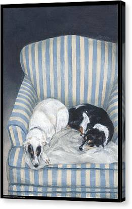 Annie And Spike Napping Canvas Print