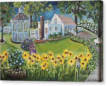 Canvas Print featuring the painting Annie's Summer Cottage by Rita Brown