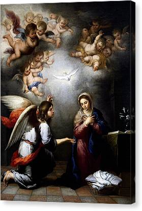 Canvas Print featuring the digital art Annunciation by Esteban Murillo