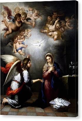 Canvas Print featuring the digital art Annunciation by Esteban Murillo
