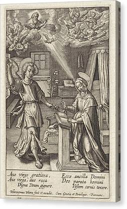 Angels Watching Canvas Print - Annunciation, Hieronymus Wierix by Hieronymus Wierix