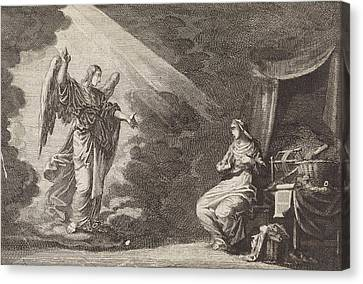 Overhearing Canvas Print - Annunciation, Jan Luyken, Pieter Mortier by Jan Luyken And Pieter Mortier