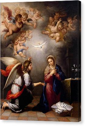 Annunciation Canvas Print by Murillo
