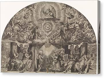 Annunciation, Paulus Mondekens, Cornelis Cort Canvas Print by Paulus Mondekens And Cornelis Cort And Federico Zuccaro