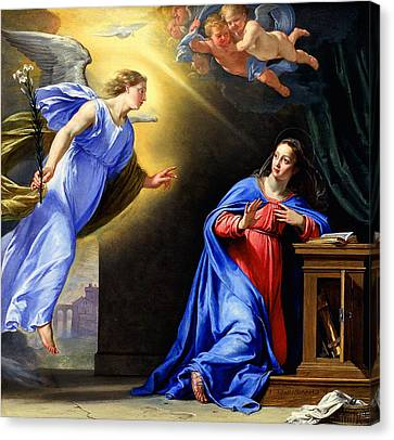 Canvas Print featuring the painting Annunciation by Philippe de Champaigne
