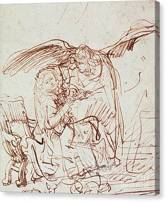 Wings Canvas Print - Annunciation  by Rembrandt Harmenszoon van Rijn