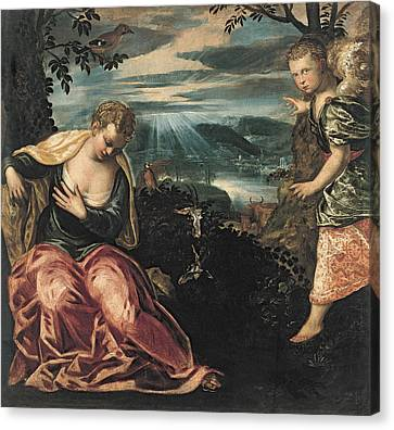 Annunciation To Manoahs Wife Canvas Print by Tintoretto