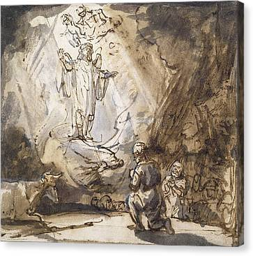 Annunciation To The Shepherds Canvas Print by Rembrandt