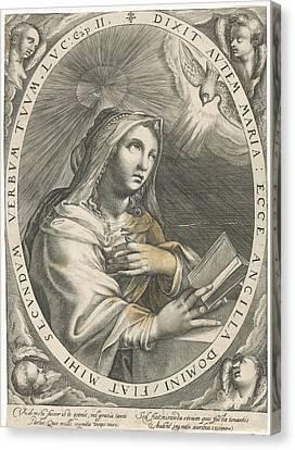 Annunciation Virgin Mary, Crispijn Van De Passe Canvas Print by Quint Lox