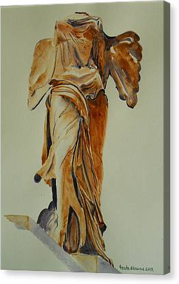Another Perspective Of The Winged Lady Of Samothrace  Canvas Print by Geeta Biswas