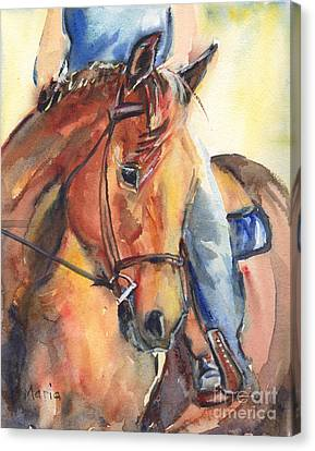 Forelock Canvas Print - Horse In Watercolor Another Sunrise by Maria's Watercolor