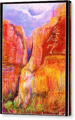 Another View Of Kokopelli Canvas Print by Anne-Elizabeth Whiteway