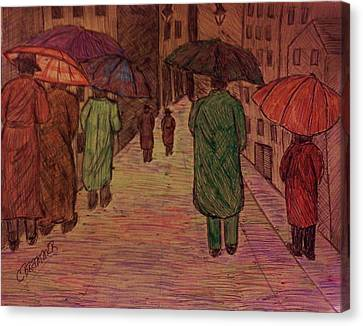 Another Walk In The Rain Canvas Print by Christy Saunders Church