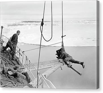 Antarctic Filming On Terra Nova Canvas Print