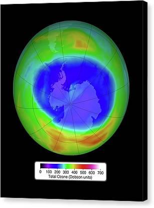 Antarctic Ozone Concentrations Canvas Print by Nasa