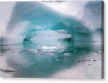 Ice Formations Canvas Print - Antarctica Artistic Open Arch In An by Janet Muir