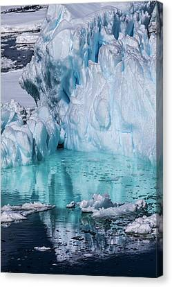 Ice Formations Canvas Print - Antarctica Colorful Iceberg And Sea Ice by Janet Muir