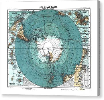 Antarctica Map Old 1912 Poster Art Drawing Canvas Print by Paul Fearn