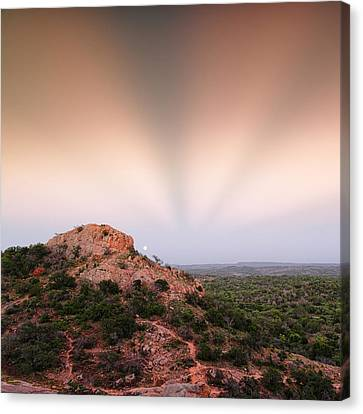 Anticrepuscular Rays Over Turkey Peak - Enchanted Rock State Natural Area Texas Hill Country Canvas Print by Silvio Ligutti