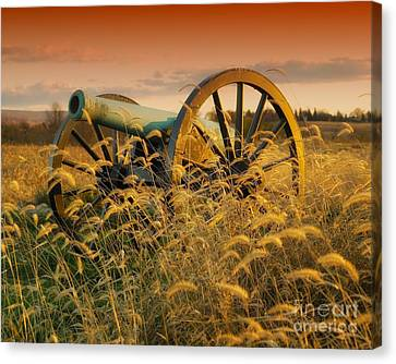 Canvas Print featuring the photograph Antietam Maryland Cannon Battlefield Landscape by Paul Fearn