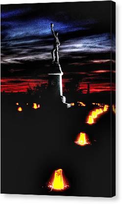 Antietam Memorial Illumination - 3rd Pennsylvania Volunteer Infantry Sunset Canvas Print by Michael Mazaika