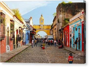 Antigua Guatemala Clock Canvas Print by Carey Chen
