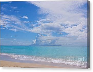 Antigua View Of Montserrat Volcano Canvas Print by Olga Hamilton