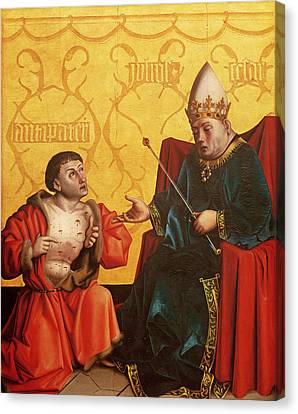 Antipater Kneeling Before Juilus Caesar, From The Mirror Of Salvation Altarpiece, C.1435 Tempera Canvas Print by Konrad Witz
