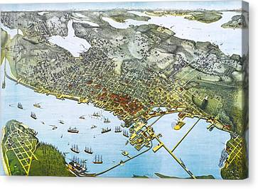 Antique 1891 Seattle Map Canvas Print by Dan Sproul