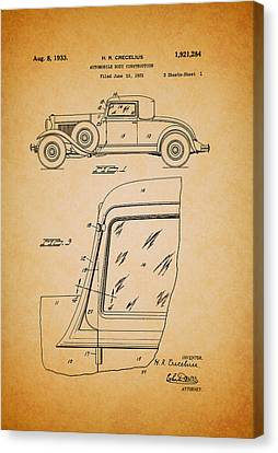 Old Car Canvas Print - Antique Automobile Body Patent 1933 by Mountain Dreams
