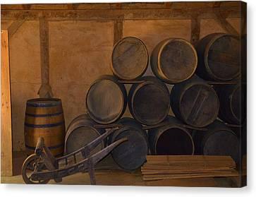 Antique Barrels And Carte Canvas Print