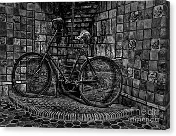 Antique Bicycle Bw Canvas Print by Susan Candelario