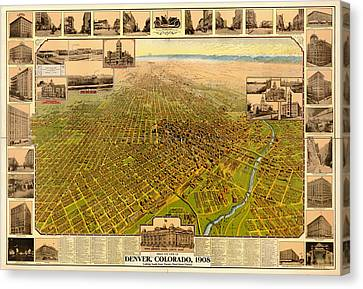 Antique Bird's-eye View Map Of Denver 1908 Canvas Print by Mountain Dreams
