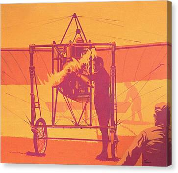 Vintage Airplane Canvas Print - Antique Bleriot Airplane  by John Samsen