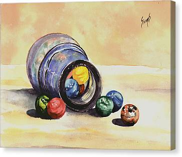 Antique Bottle With Marbles Canvas Print