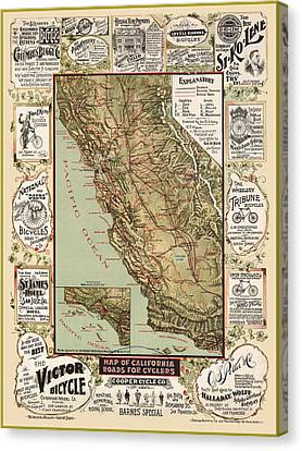 Antique California Bicycle Trails Canvas Print by Gary Grayson