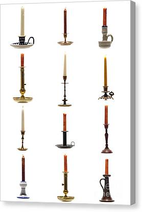 Antique Candleholders Canvas Print by Olivier Le Queinec