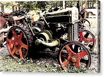 Antique Case Tractor Red Wheels Canvas Print by Michael Spano