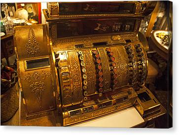 Canvas Print featuring the photograph Antique Cash Register by Jerry Cowart