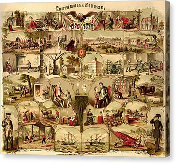Antique Centennial Mirror Of The United States 1776-1876 Canvas Print by Mountain Dreams