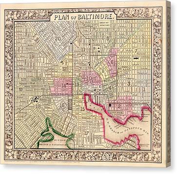 Antique City Map Of Baltimore 1864 Canvas Print by Mountain Dreams