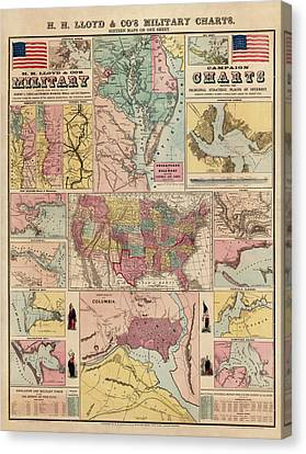 Antique Civil War Map By Egbert L. Viele - Circa 1861 Canvas Print