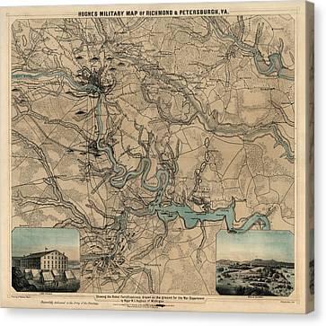 Antique Civil War Map Of Richmond And Petersburg Virginia By William C. Hughes - Circa 1864 Canvas Print