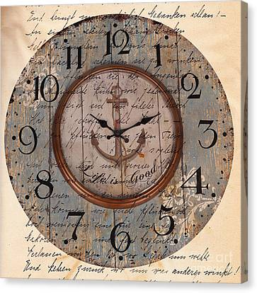 Antique Clock Anchor Vintage Wallpaper Canvas Print by Art World