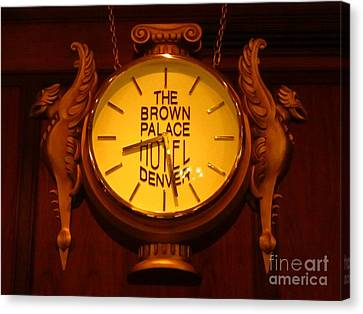 Antique Clock At The Bown Palace Hotel Canvas Print by John Malone