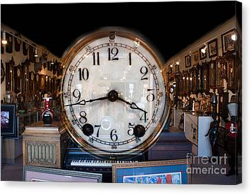 Canvas Print featuring the photograph Antique Clock Store by Gunter Nezhoda