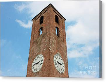Antique Clock Tower On Blue Sky Background Canvas Print by Kiril Stanchev